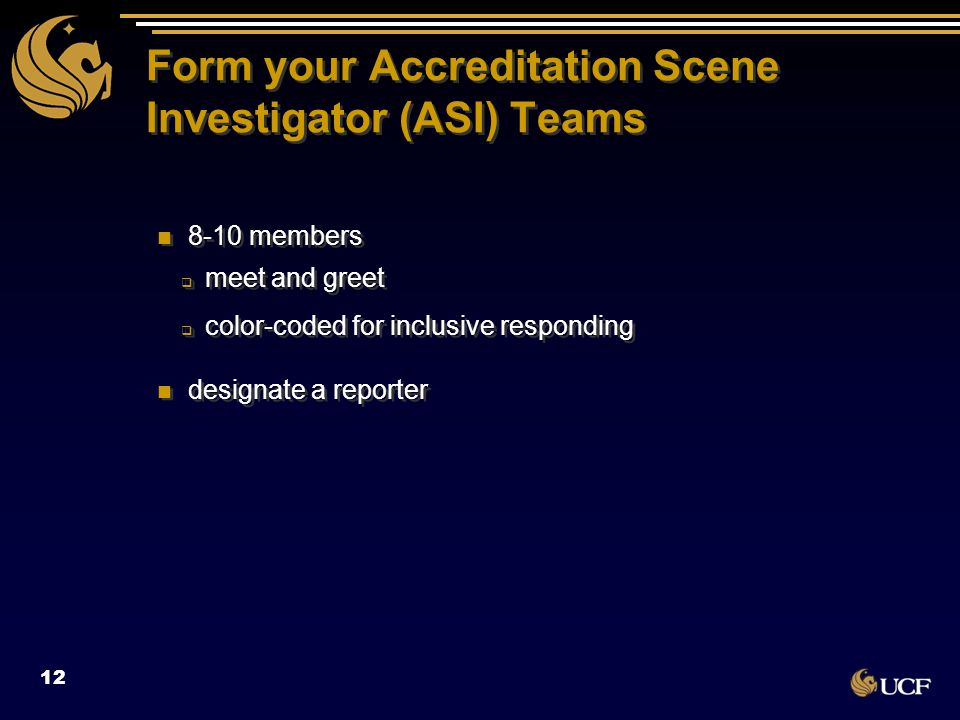 Form your Accreditation Scene Investigator (ASI) Teams 8-10 members  meet and greet  color-coded for inclusive responding designate a reporter 8-10