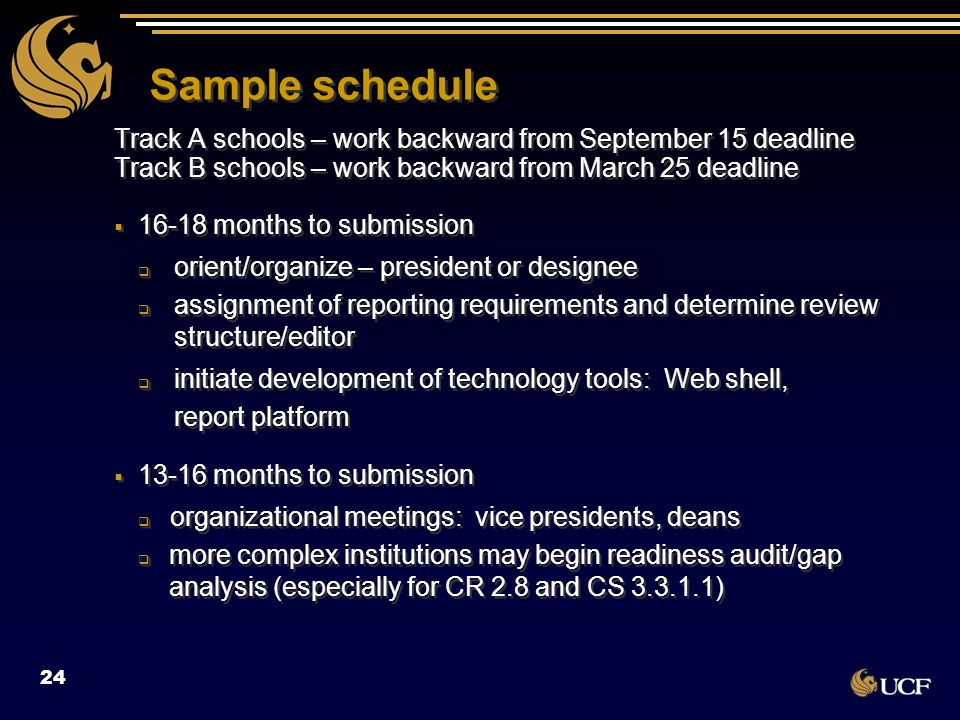Sample schedule Track A schools – work backward from September 15 deadline Track B schools – work backward from March 25 deadline  16-18 months to su