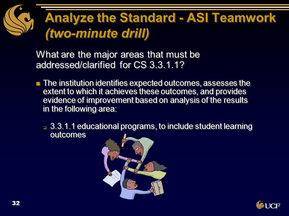 Analyze the Standard - ASI Teamwork (two-minute drill) What are the major areas that must be addressed/clarified for CS 3.3.1.1? The institution ident