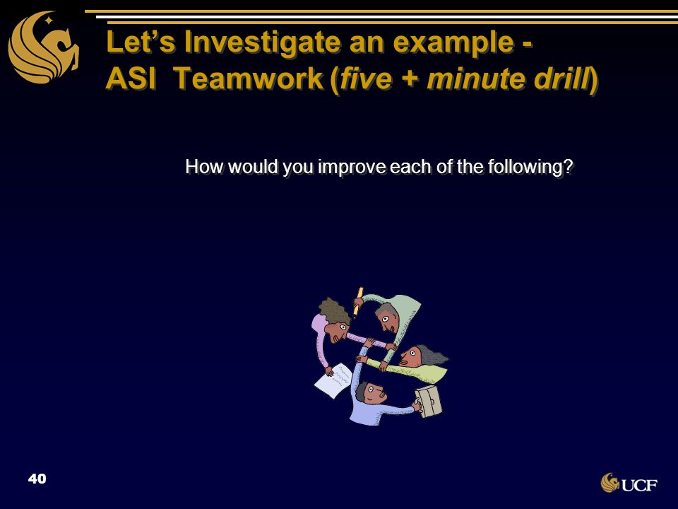 Let's Investigate an example - ASI Teamwork (five + minute drill) How would you improve each of the following? 40