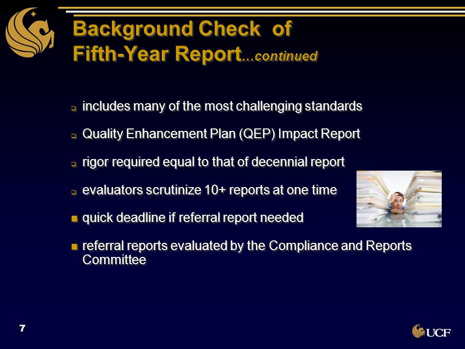 SACSCOC Fifth-Year Report Standards (2012) 1.CR 2.8 Number of full ‐ time faculty 2.