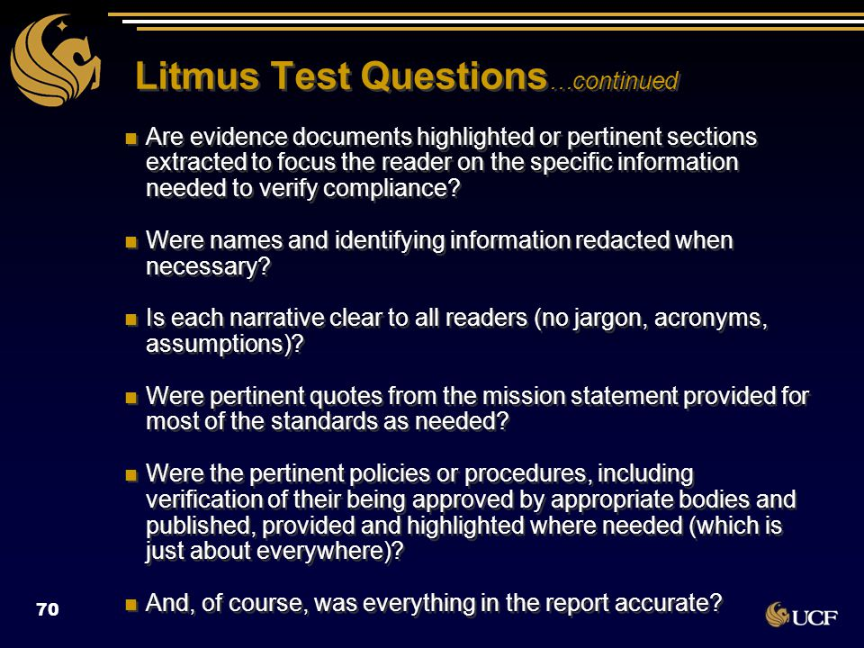 Litmus Test Questions …continued Are evidence documents highlighted or pertinent sections extracted to focus the reader on the specific information ne