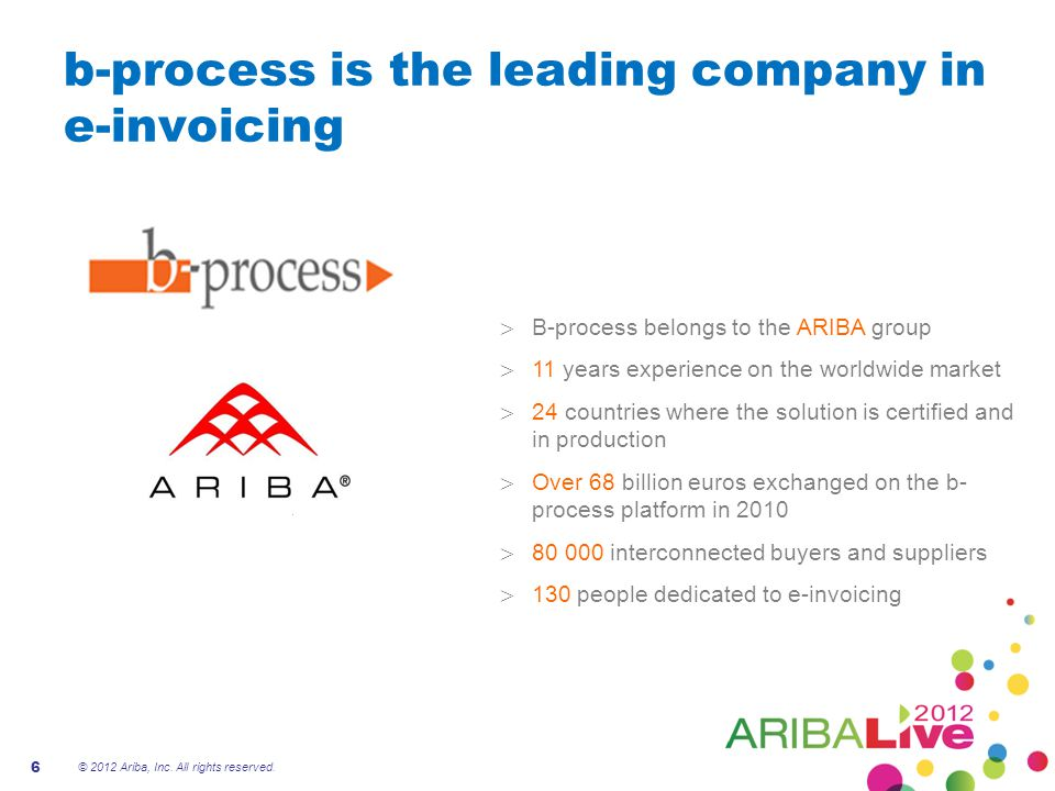 B-process has extensive know-how on the e-invoicing european market  Expert knowledge of the invoice document  Expert knowledge of tax regulations and commercial law  Traceability  Service Continuity  Reversibility  Dedicated outrolling teams  Solutions adapted to customers and suppliers Production and operational know-how Legal & business expertise Outrolling of suppliers and customers 7 © 2012 Ariba, Inc.