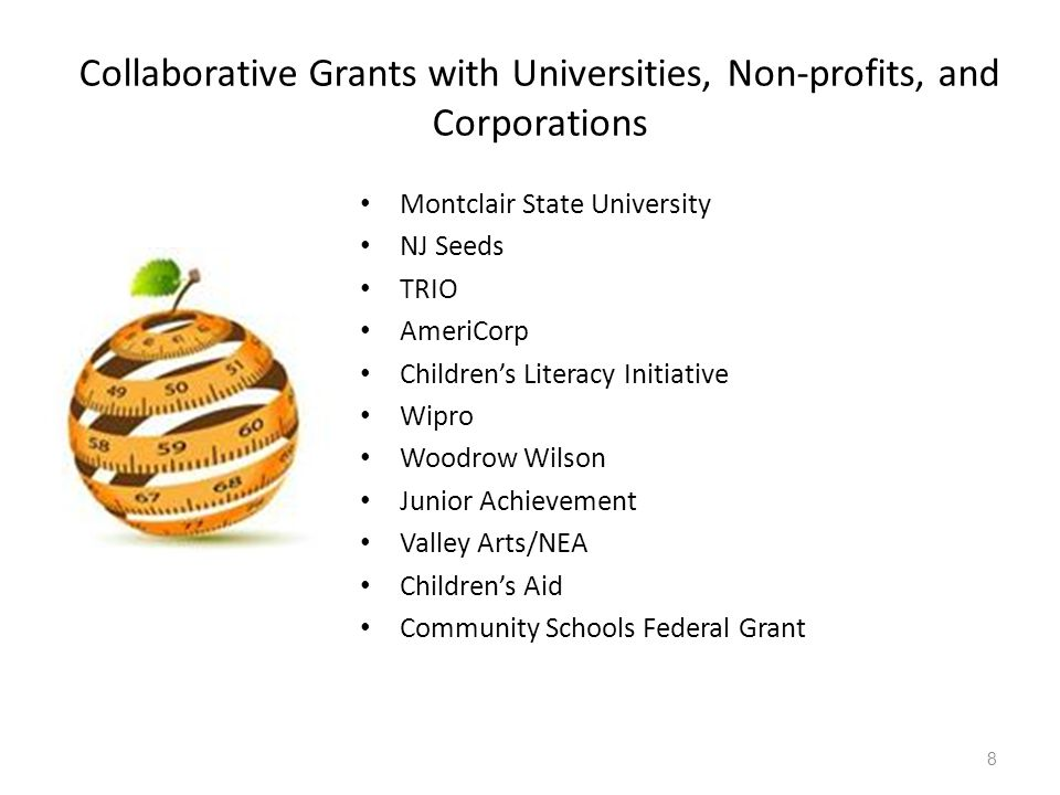 9 2013-2014 Collaborative Grants with Universities, Non-profits, and Corporations : $2,191,000 Chase: Community School: $65,000 Montclair State University: $300,000 NJ Seeds: $300,000 TRIO: $100,000 Americorp: $276,000 Teach for America: $240,000 Children's Literacy Initiative: $30,000 Wipro: $120,000 Woodrow Wilson: $250,000 Junior Achievement: $70,000 Valley Arts/NEA: $50,000 Valley Arts Murals: $30,000 Children's Aid: $20,000 Paper Mill Playhouse: $40,000 SPACE: $200,000 Nicholson Foundation (Real World Connections) $100,000