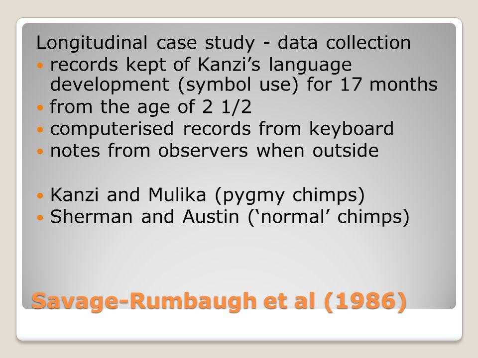 Savage-Rumbaugh et al (1986) Longitudinal case study The data (assessing Kanzi's symbol use) correct or incorrect spontaneous imitation structured (e.g.