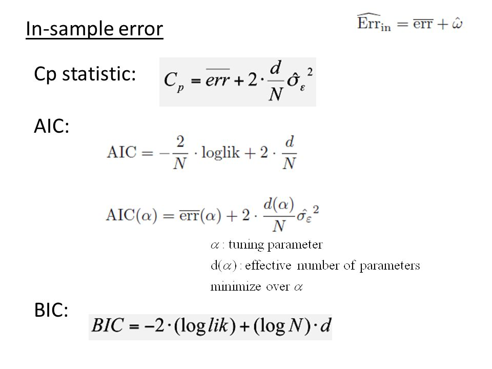 In-sample error Cp statistic: AIC: BIC: