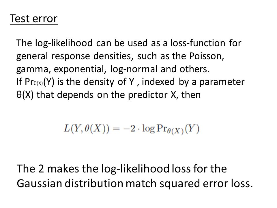 The 2 makes the log-likelihood loss for the Gaussian distribution match squared error loss. Test error The log-likelihood can be used as a loss-functi
