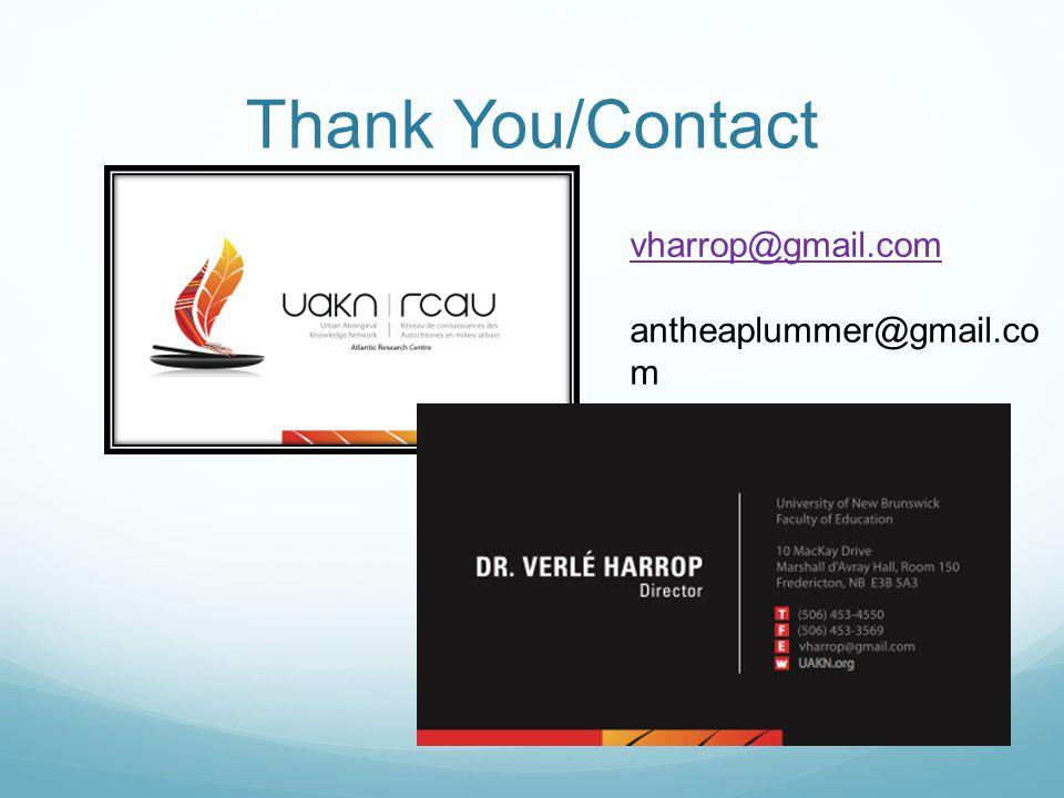 Thank You/Contact vharrop@gmail.com antheaplummer@gmail.co m