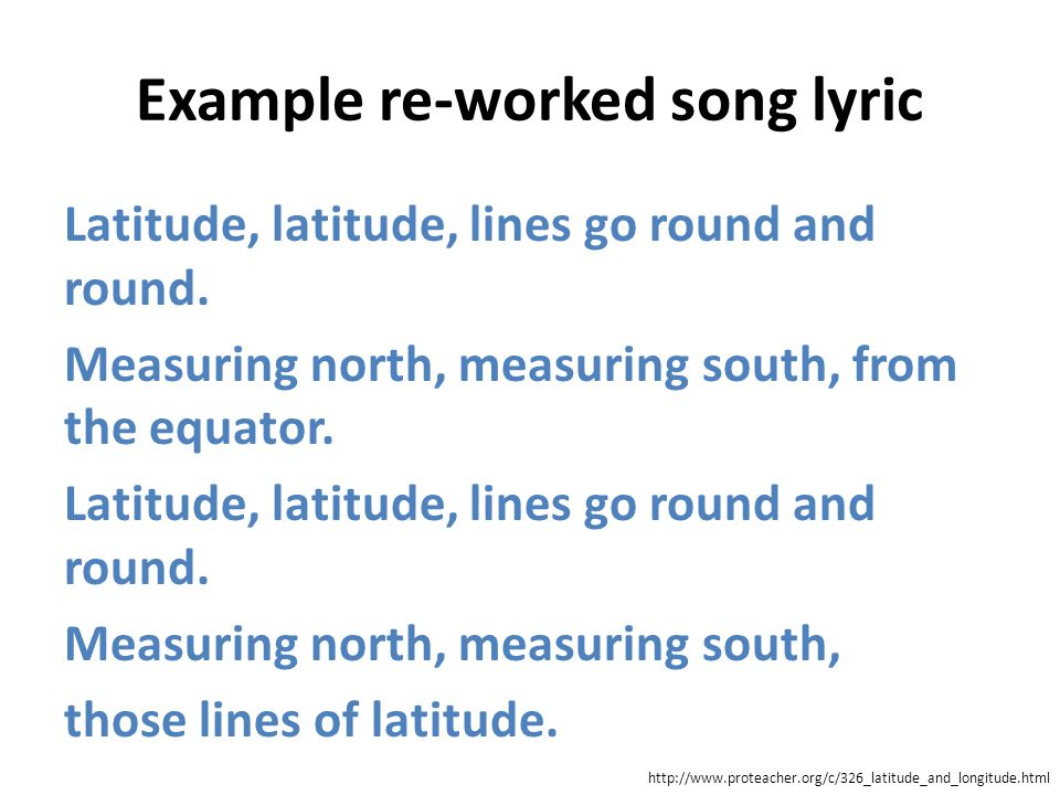 Example re-worked song lyric Latitude, latitude, lines go round and round. Measuring north, measuring south, from the equator. Latitude, latitude, lin