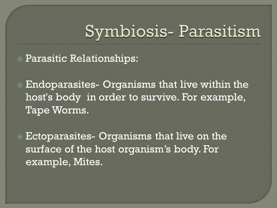  Parasitic Relationships:  Endoparasites- Organisms that live within the host s body in order to survive.