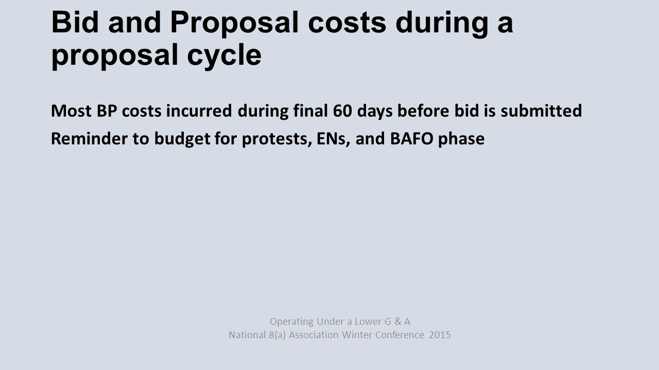 Proposal costs Internal costs (e.g.employees) External costs (e.g.