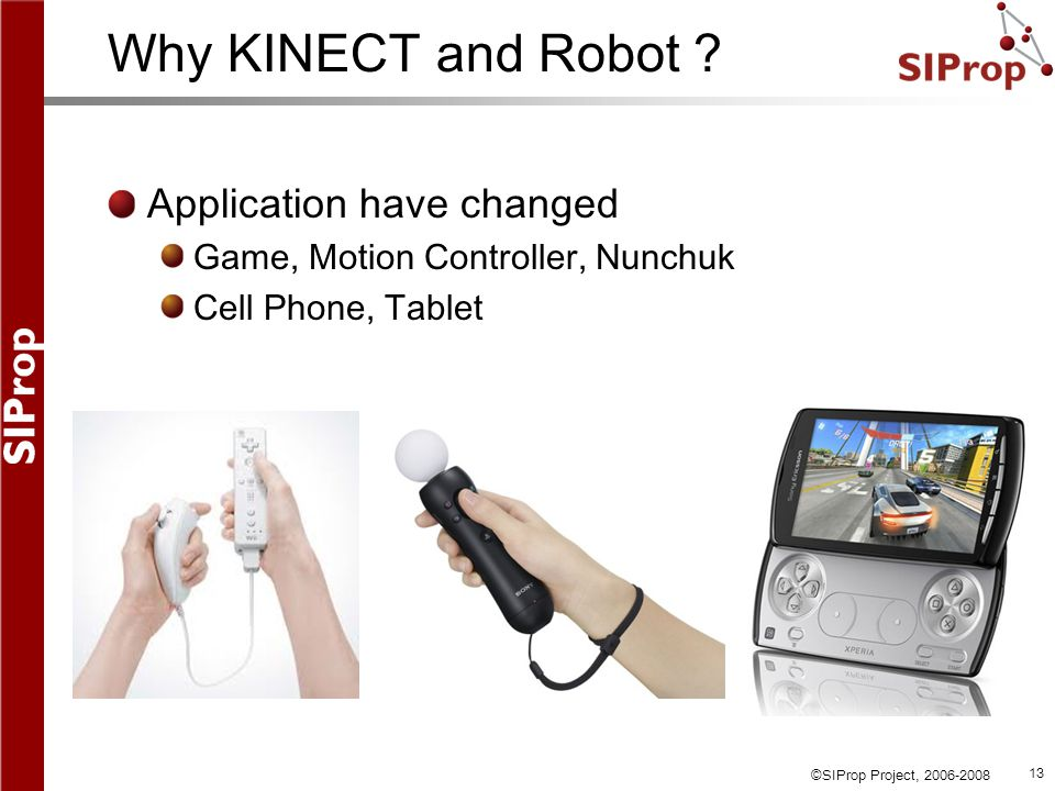 ©SIProp Project, 2006-2008 13 Why KINECT and Robot .