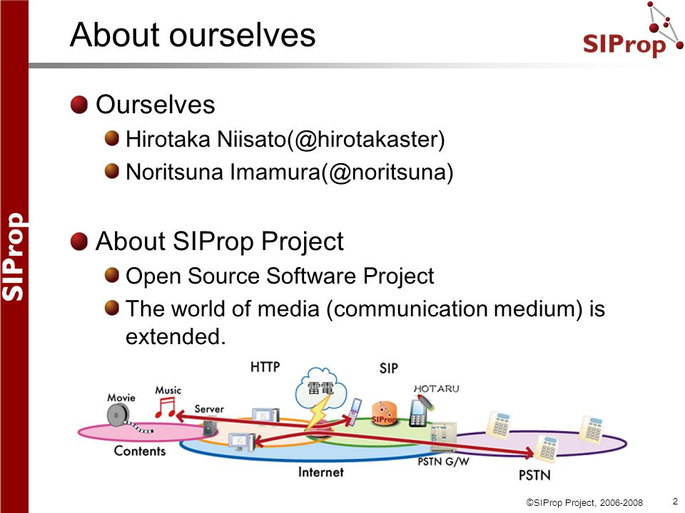 ©SIProp Project, 2006-2008 2 About ourselves Ourselves Hirotaka Niisato(@hirotakaster) Noritsuna Imamura(@noritsuna) About SIProp Project Open Source Software Project The world of media (communication medium) is extended.