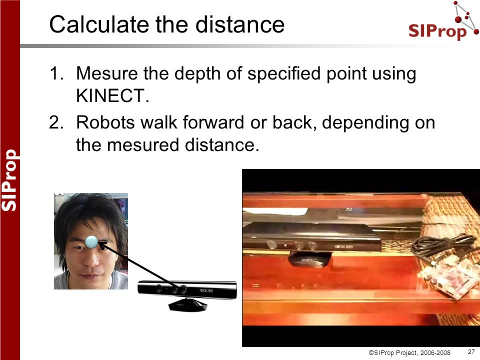 ©SIProp Project, 2006-2008 27 Calculate the distance 1.Mesure the depth of specified point using KINECT.