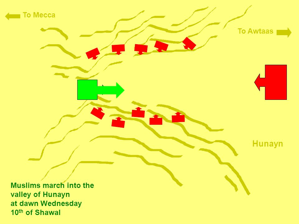 Hunayn To Mecca To Awtaas Muslims march into the valley of Hunayn at dawn Wednesday 10 th of Shawal