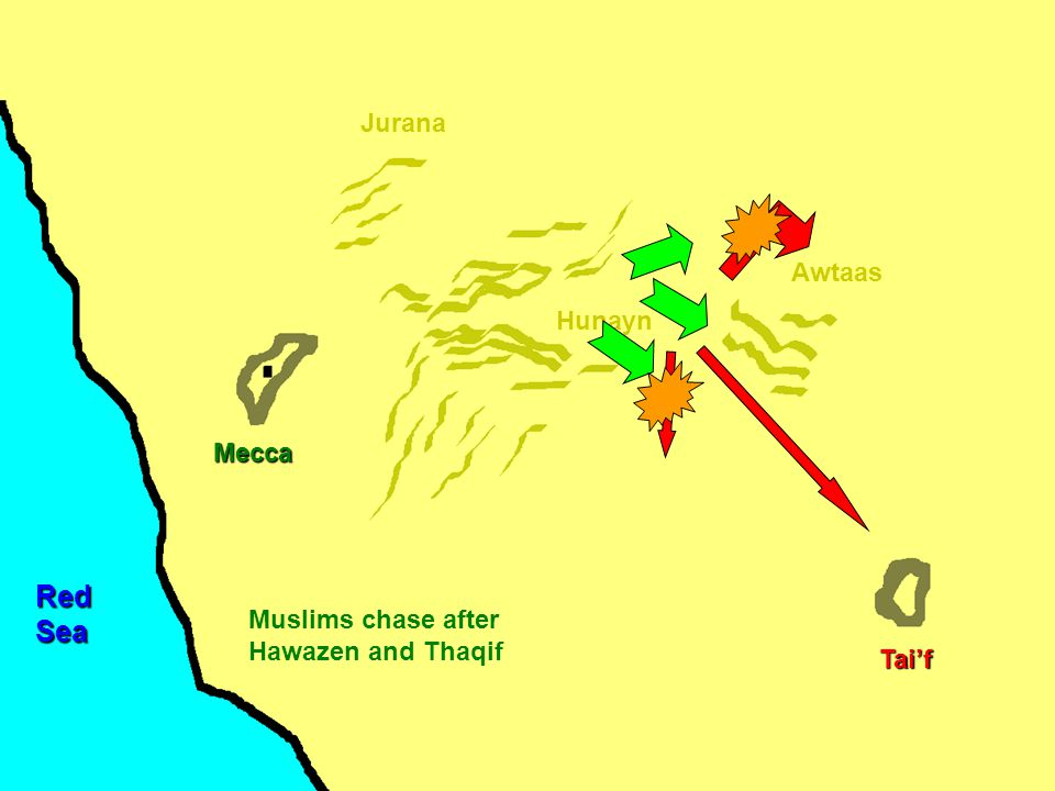Mecca Hunayn Awtaas Jurana Tai'f RedSea Muslims chase after Hawazen and Thaqif