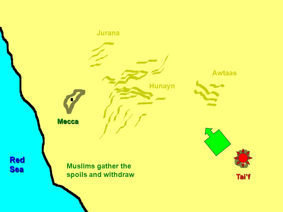 Mecca Hunayn Awtaas Jurana Tai'f RedSea Muslims gather the spoils and withdraw