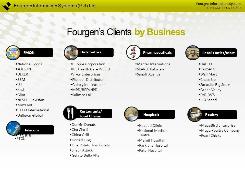 Fourgen Information System ERP | SMS | POS | S & D Fourgen's Clients by Business FMCG National Foods KOLSON ULKER EBM LU Kiwi Glint NESTLE Pakistan MA
