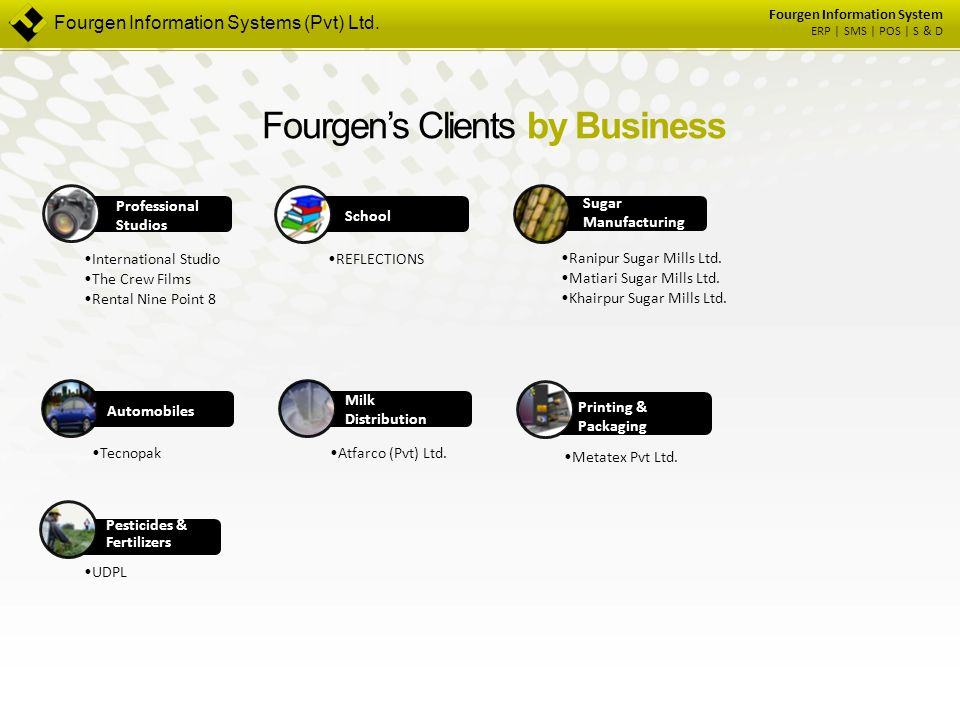 Fourgen Information System ERP | SMS | POS | S & D Fourgen's Clients by Business Professional Studios International Studio The Crew Films Rental Nine
