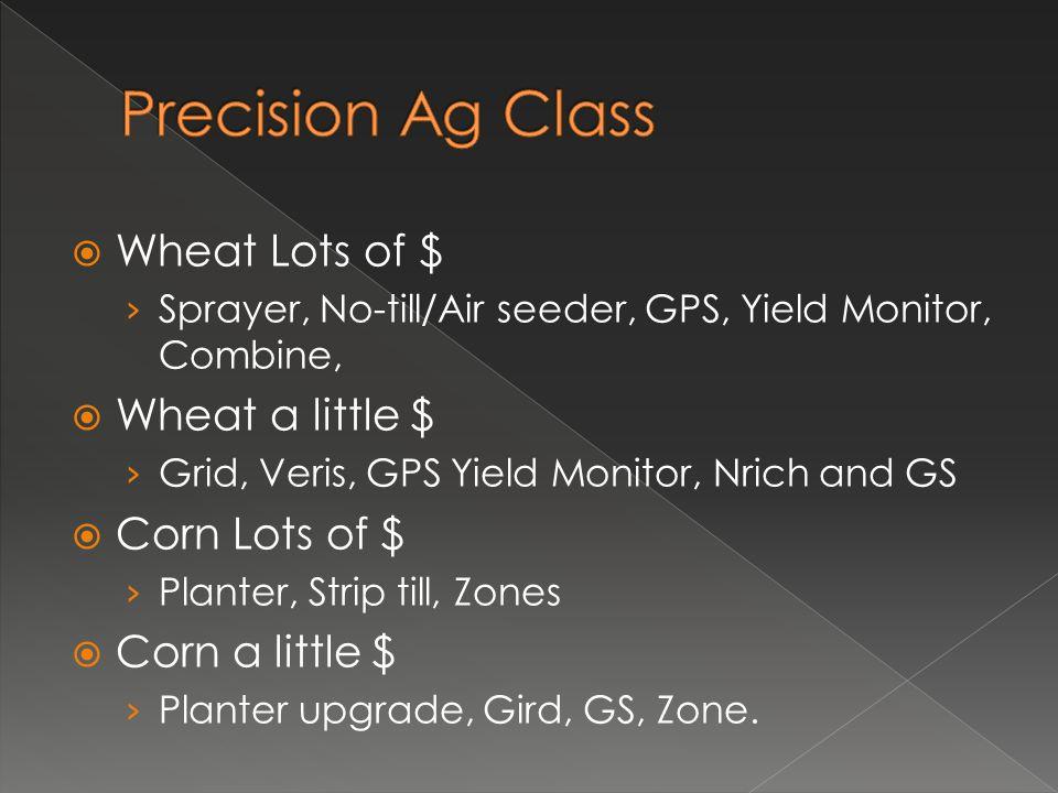  Wheat Lots of $ › Sprayer, No-till/Air seeder, GPS, Yield Monitor, Combine,  Wheat a little $ › Grid, Veris, GPS Yield Monitor, Nrich and GS  Corn Lots of $ › Planter, Strip till, Zones  Corn a little $ › Planter upgrade, Gird, GS, Zone.
