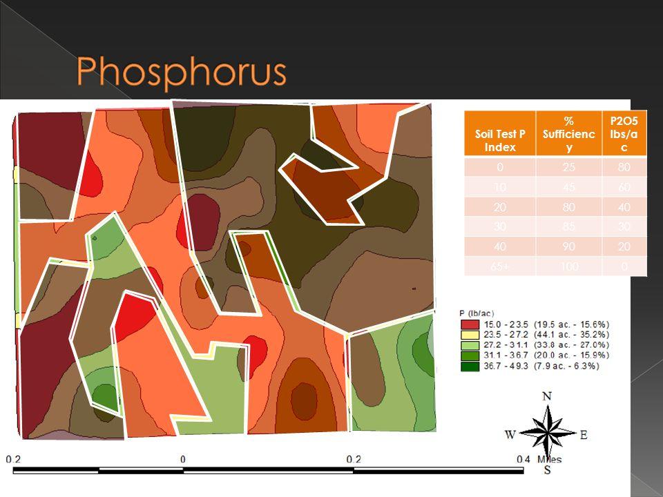 Soil Test P Index % Sufficienc y P2O5 lbs/a c 02580 104560 208040 308530 409020 65+1000