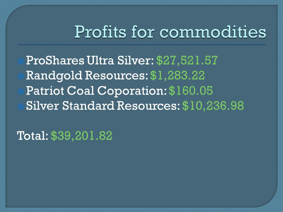  ProShares Ultra Silver: $27,521.57  Randgold Resources: $1,283.22  Patriot Coal Coporation: $160.05  Silver Standard Resources: $10,236.98 Total: