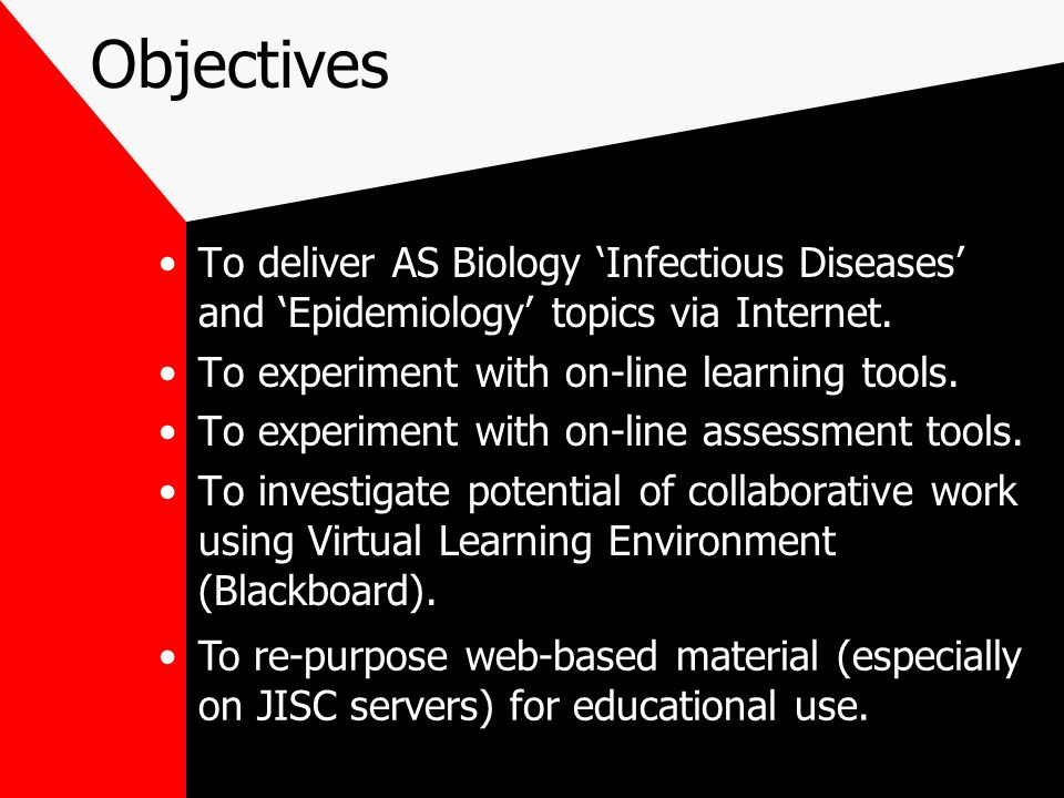 Objectives To deliver AS Biology 'Infectious Diseases' and 'Epidemiology' topics via Internet. To experiment with on-line learning tools. To experimen