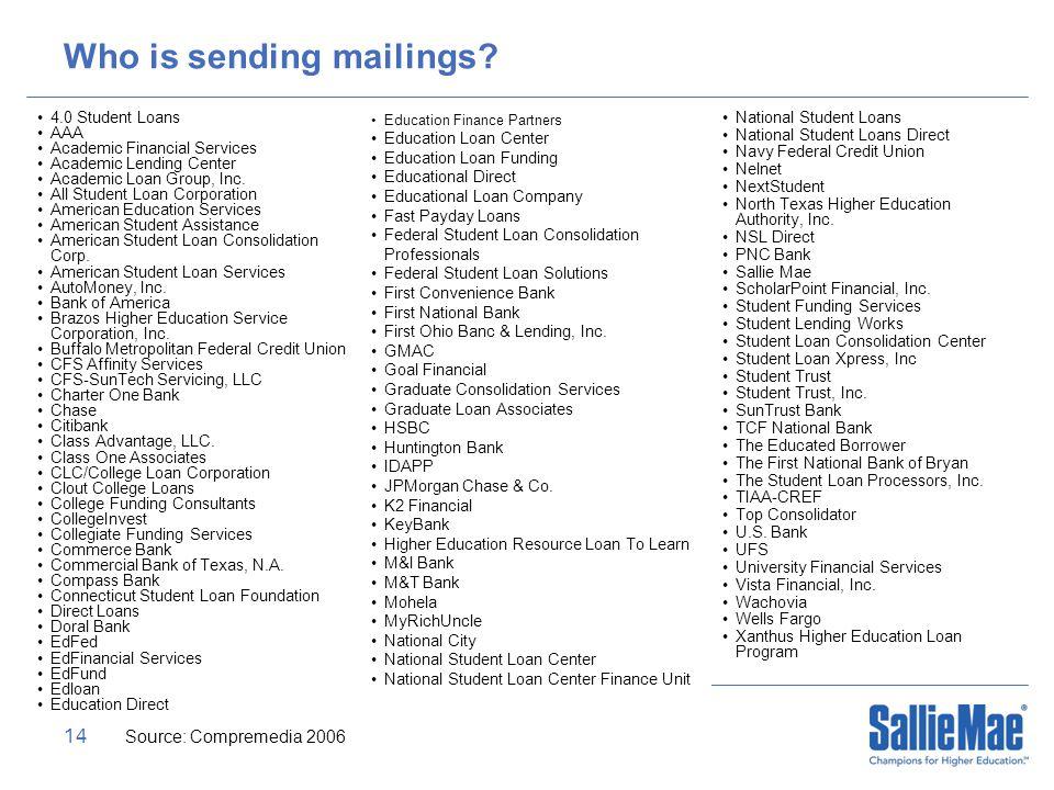 14 Who is sending mailings.