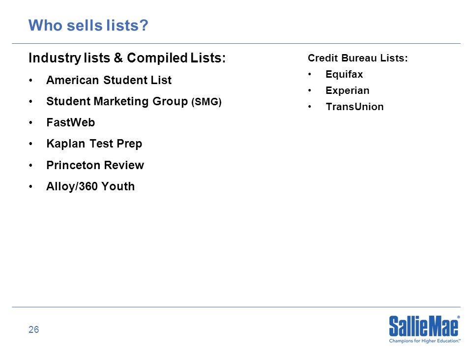 26 Who sells lists.