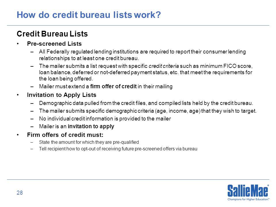 28 How do credit bureau lists work.