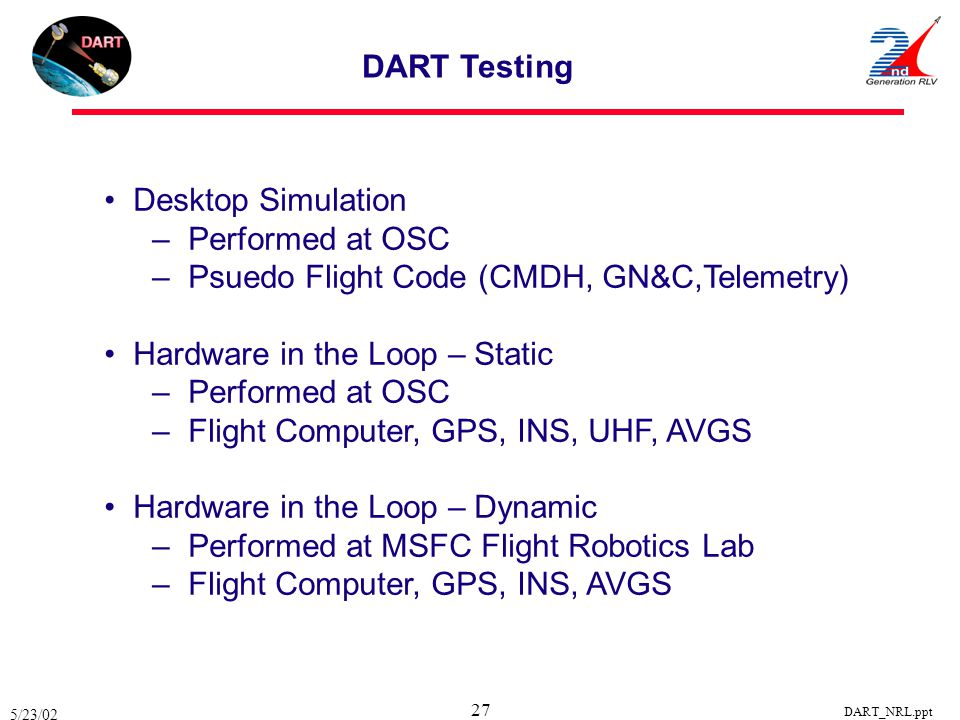 5/23/02 DART_NRL.ppt 27 DART Testing Desktop Simulation – Performed at OSC – Psuedo Flight Code (CMDH, GN&C,Telemetry) Hardware in the Loop – Static –