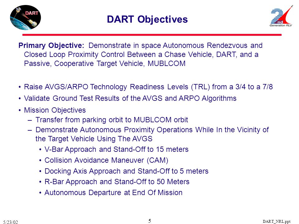 5/23/02 DART_NRL.ppt 5 Primary Objective: Demonstrate in space Autonomous Rendezvous and Closed Loop Proximity Control Between a Chase Vehicle, DART,