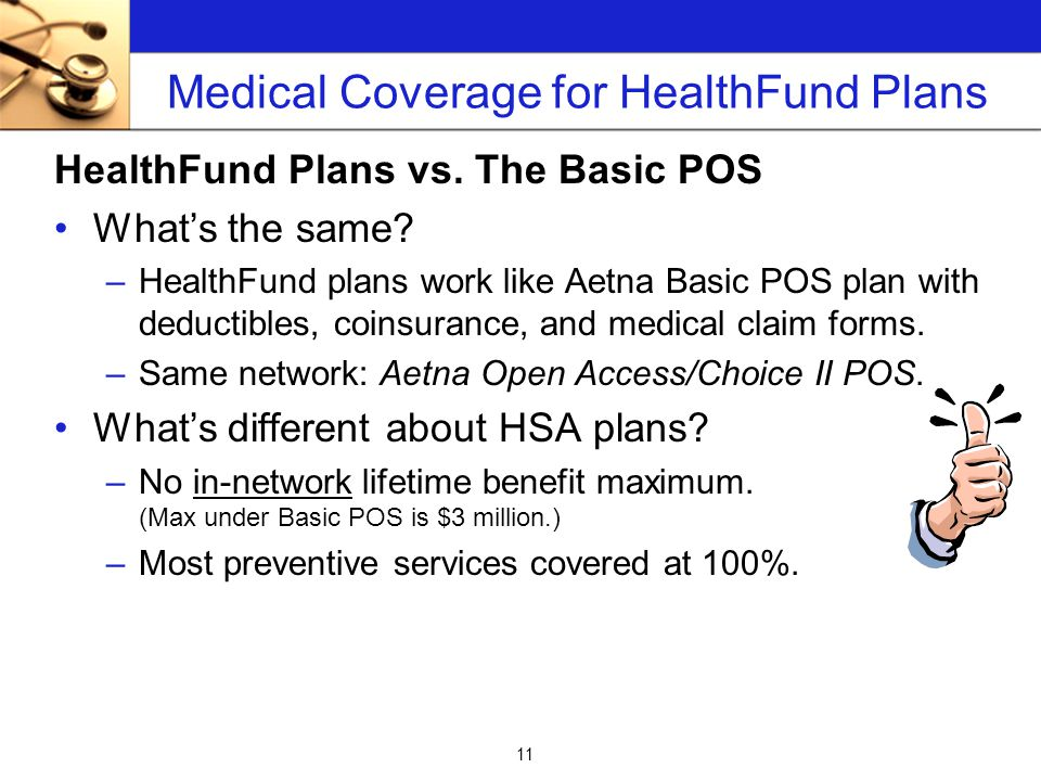 11 Medical Coverage for HealthFund Plans HealthFund Plans vs.
