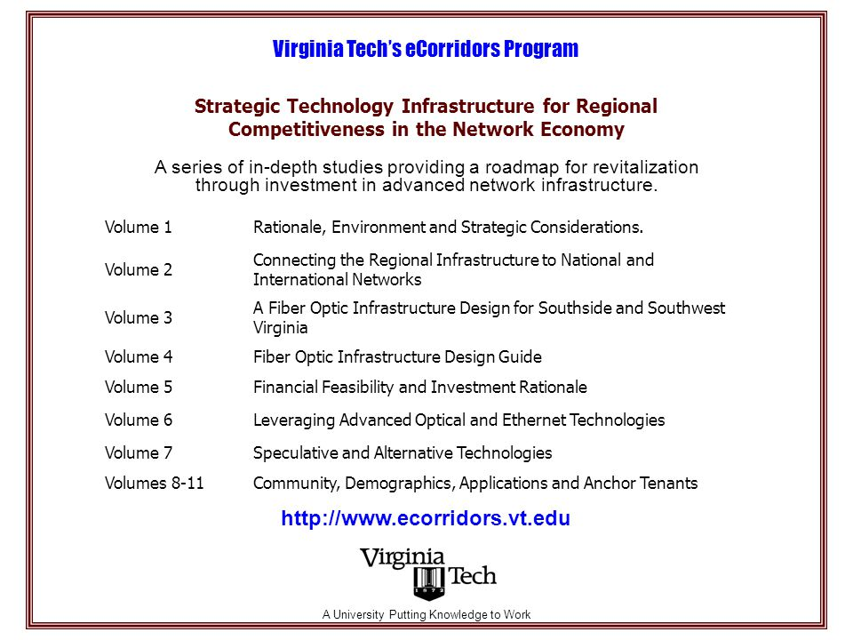 Strategic Technology Infrastructure for Regional Competitiveness in the Network Economy Virginia Tech's eCorridors Program A series of in-depth studies providing a roadmap for revitalization through investment in advanced network infrastructure.