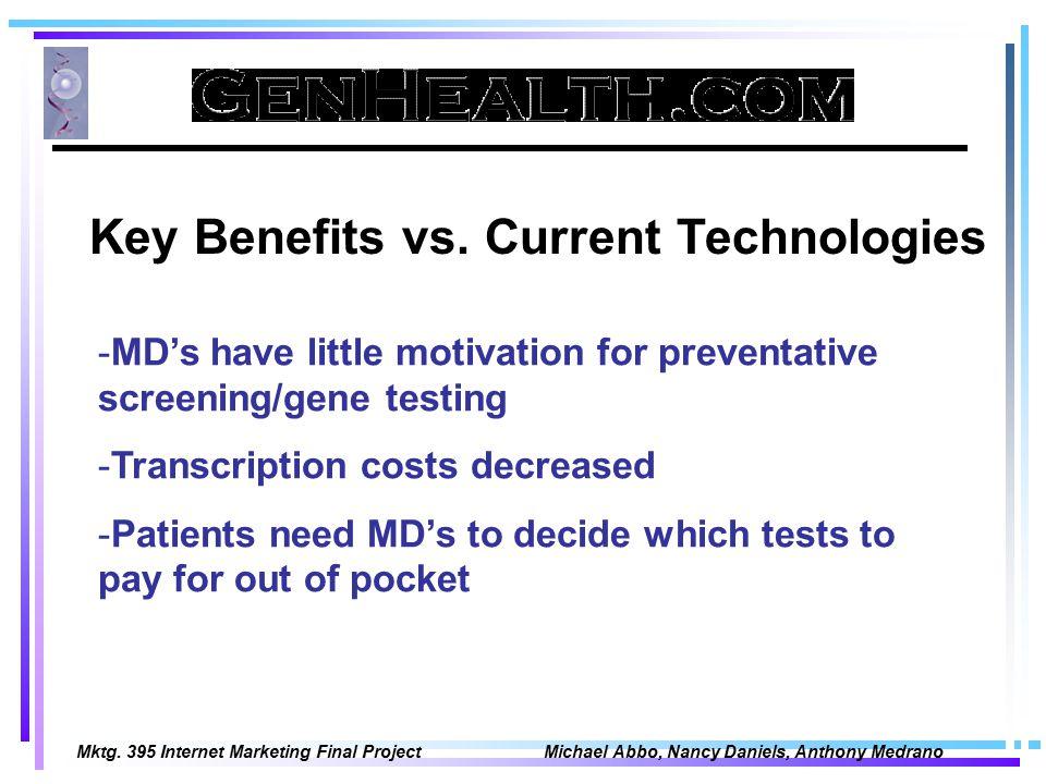 Mktg. 395 Internet Marketing Final Project Michael Abbo, Nancy Daniels, Anthony Medrano Key Benefits vs. Current Technologies -MD's have little motiva
