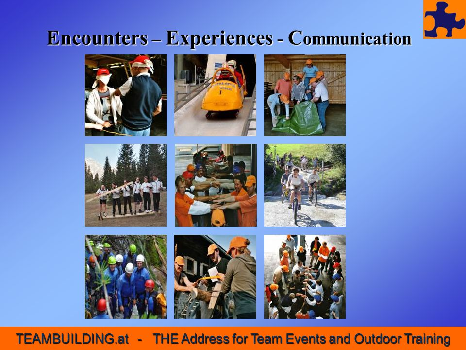 Our Portfolio We specialize in: Team Building, Team Training Seminars with Outdoor Elements Events & Incentives Our Project Days...impart a lasting impression of experienced social competence,...build trust in personal abilities and in the team's abilities and...guarantee fun and unforgettable experiences through creatively arranged activities.