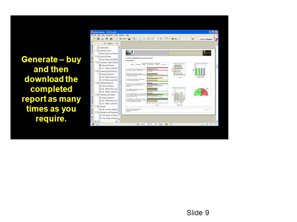 Generate – buy and then download the completed report as many times as you require. Slide 9