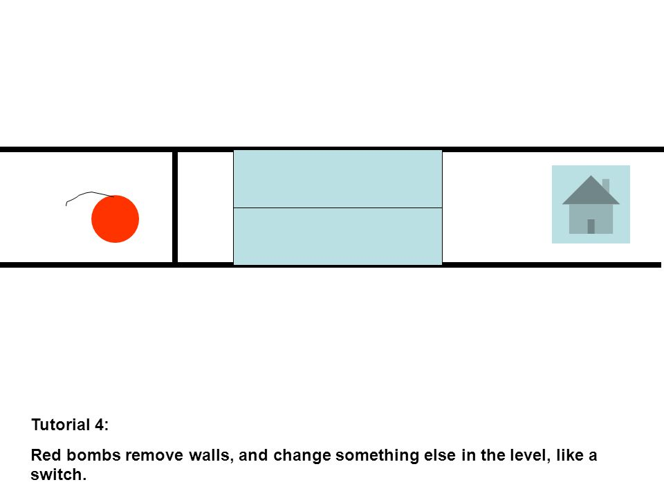 Tutorial 4: Red bombs remove walls, and change something else in the level, like a switch.