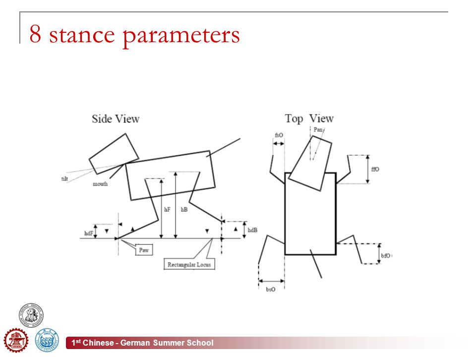 1 st Chinese - German Summer School 8 stance parameters