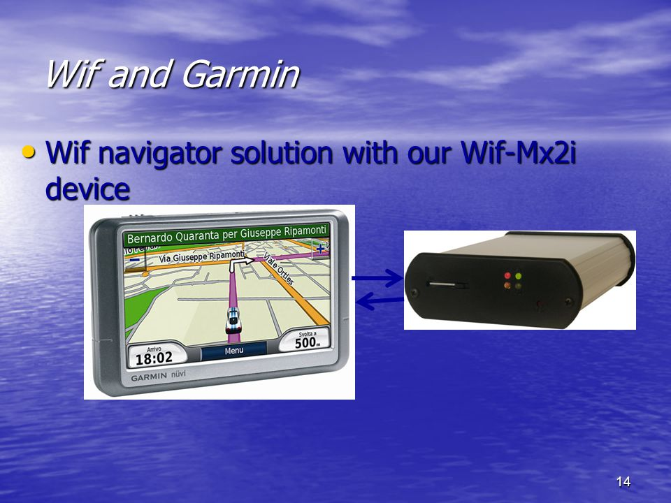 14 Wif and Garmin Wif navigator solution with our Wif-Mx2i device Wif navigator solution with our Wif-Mx2i device