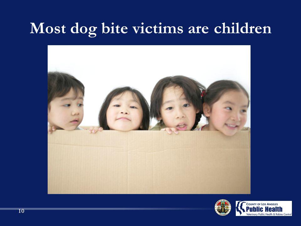 Most dog bite victims are children 10