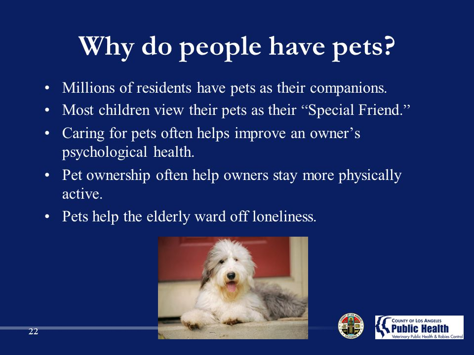 Why do people have pets.Millions of residents have pets as their companions.