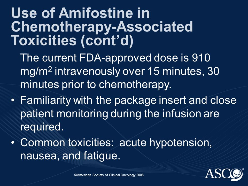 ©American Society of Clinical Oncology 2008 The current FDA-approved dose is 910 mg/m 2 intravenously over 15 minutes, 30 minutes prior to chemotherapy.
