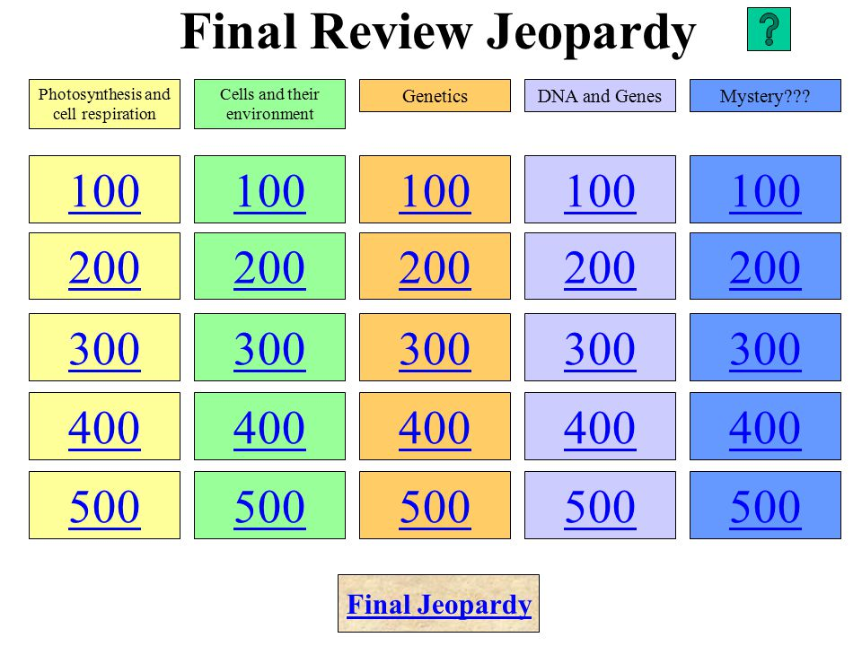 Final Review Jeopardy 100 200 300 400 500 100 200 300 400 500 100 200 300 400 500 100 200 300 400 500 100 200 300 400 500 Photosynthesis and cell respiration Cells and their environment GeneticsDNA and GenesMystery??.