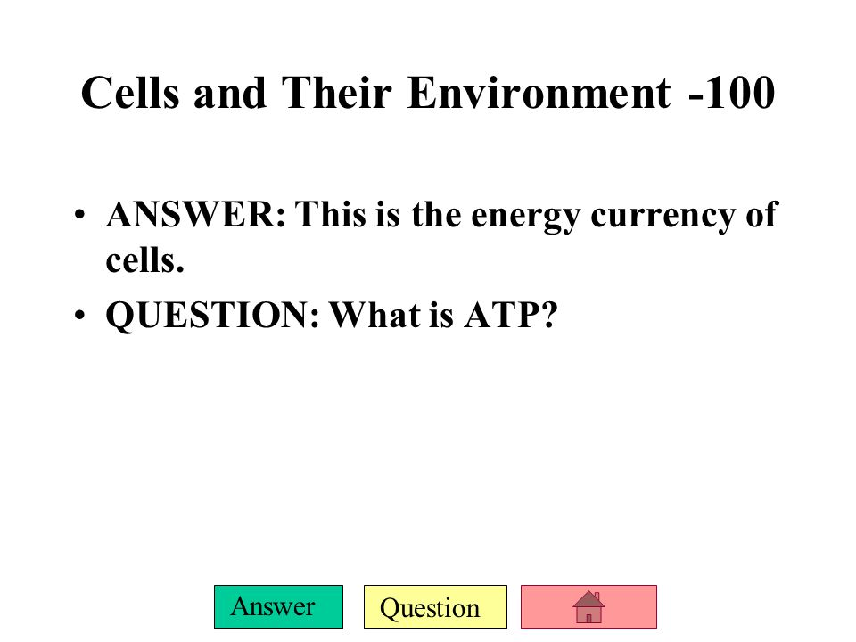 Question Answer ANSWER: This is the energy currency of cells.