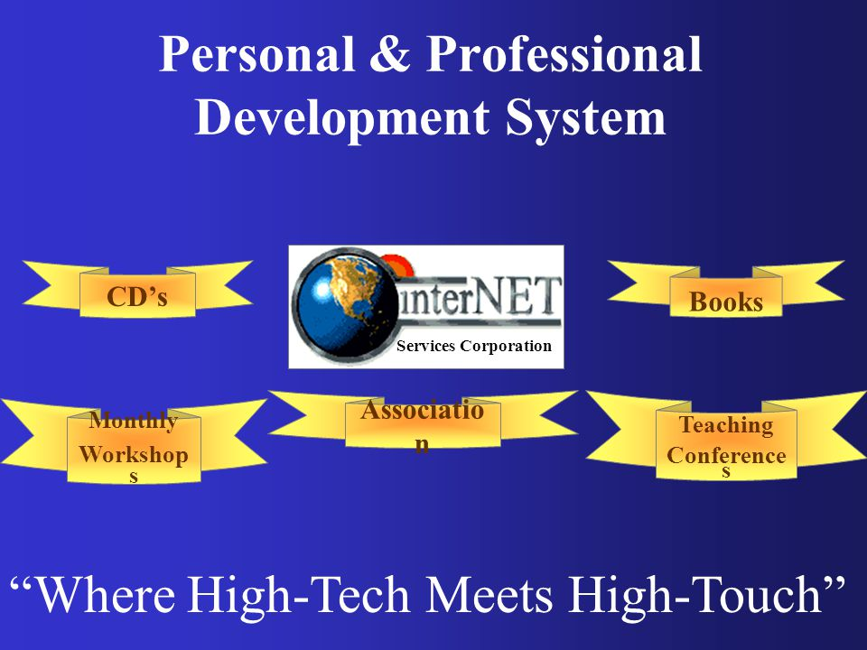 Personal & Professional Development System Where High-Tech Meets High-Touch CD's Services Corporation Books Monthly Workshop s Associatio n Teaching Conference s