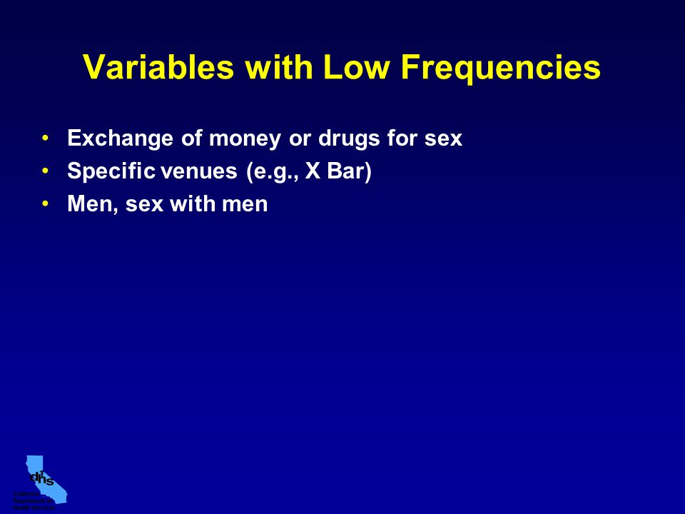 Variables with Low Frequencies Exchange of money or drugs for sex Specific venues (e.g., X Bar) Men, sex with men