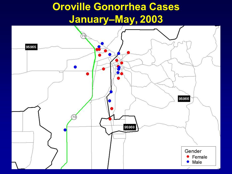 Oroville Gonorrhea Cases January–May, 2003
