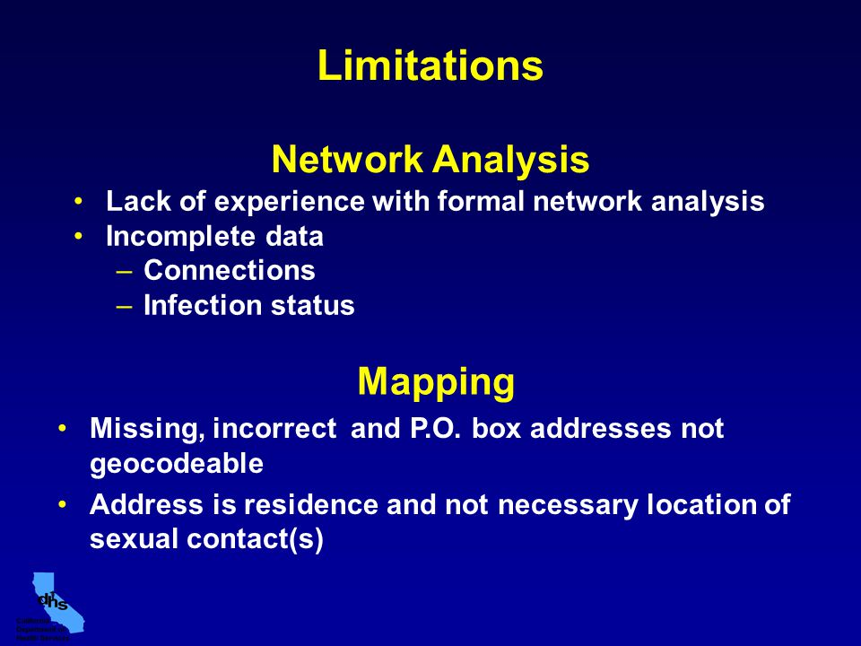 Limitations Network Analysis Lack of experience with formal network analysis Incomplete data –Connections –Infection status Mapping Missing, incorrect and P.O.