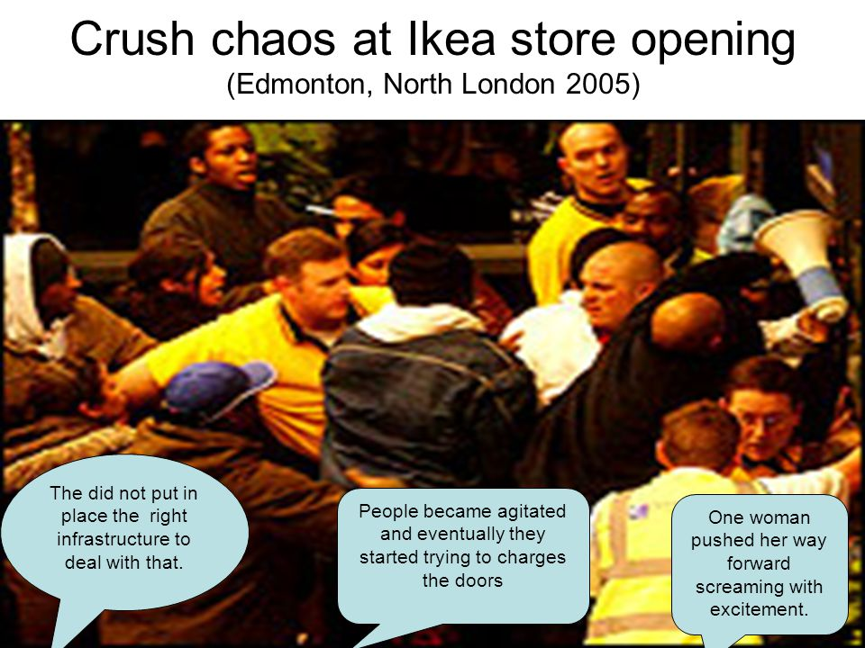 Crush chaos at Ikea store opening (Edmonton, North London 2005) The did not put in place the right infrastructure to deal with that.